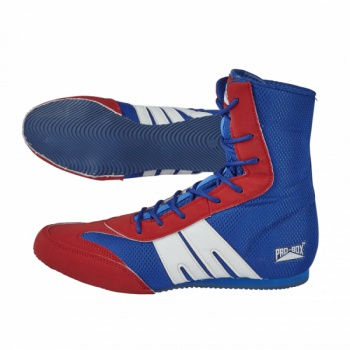 PRO-BOX JUNIOR BOOTS. BLUE-RED. SIZES: 1-6