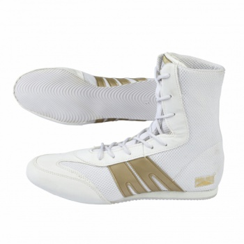 BACK IN STOCK. PRO-BOX SENIOR BOOTS. WHITE-GOLD. SIZES: 7-14