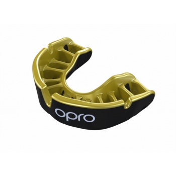 \'OPRO\' GOLD MOUTH GUARD (BLACK/GOLD)