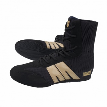 \'NEW\' PRO-BOX SENIOR BOXING BOOTS. BLACK-GOLD. SIZES: 7 TO 14