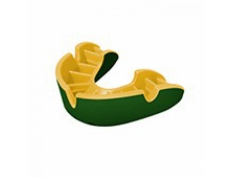 'OPRO' SILVER MOUTH GUARD GREEN/GOLD