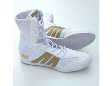 PRO-BOX JUNIOR BOXING BOOTS. WHITE-GOLD