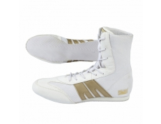 PRO-BOX SENIOR BOXING BOOTS. WHITE-GOLD. SIZES: 7-14