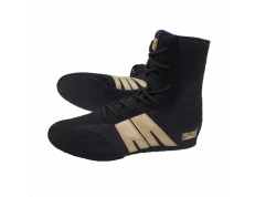 'NEW' PRO-BOX SENIOR BOXING BOOTS. BLACK-GOLD. SIZES: 7 TO 14