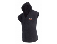 HOODED TOWELING PONCHO BLACK. SIZES: JUNIOR & SENIOR